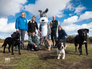 Group of people, dogs and a mascot dog on the heaths