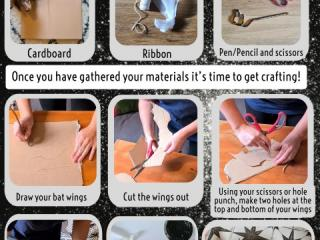 Poster showing how to make bat wings for your dog.