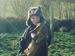 Child holding a dog