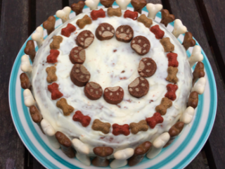Decorated cake for a dog