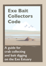 Illustration of an estuary at low tide on the front cover of the Exe Bait Collectors Code