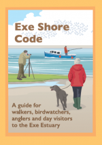 Illustration of a dog walker, bird watcher and angler on the front cover of the Exe Shore Code